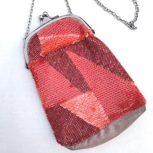 Urban Outfitters Sequined Abstract KISS Lock Bag